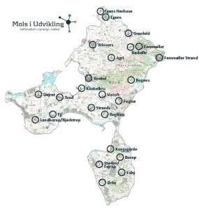 Området for Mols i Udvikling og de 24 byer der søges kontaktpersoner i.